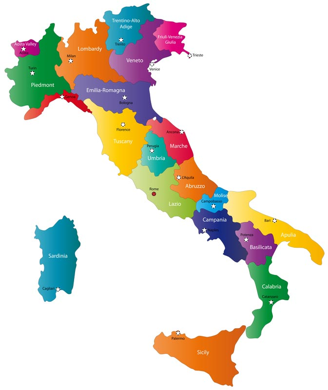 map of Italy showing the regions and most important cities
