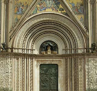 Detail of facade of Orvieto Cathedral