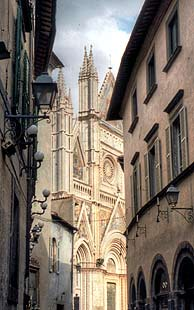 Cathedral and side street in Orvieto