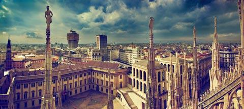 View from Milan Cathedral with Royal Palace and Velasca Tower behind