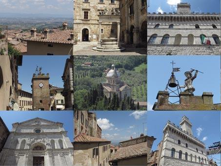 selected historic monuments on Montemulciano town