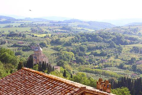 View from Montepulciano of San Biagio church