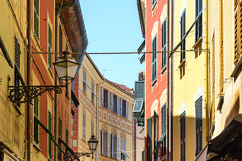 colourful townhouses in centre of Sestri Levante