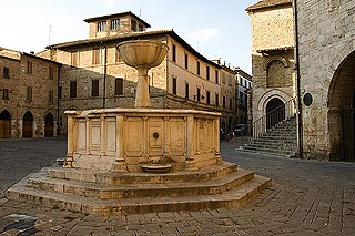 Fountain in Piazza Sylvestri in heart of Bevagna old town