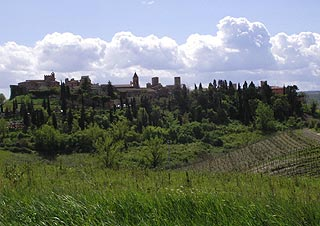 Tuscany countryside with Certaldo and vineyards