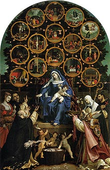 Madonna of the Rosary by Lorenzo Lotto in the town art gallery in Cingoli