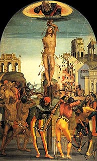 painting of the martyrdom of Saint Sebastian by Signorelli in Citta di Castello, Umbria