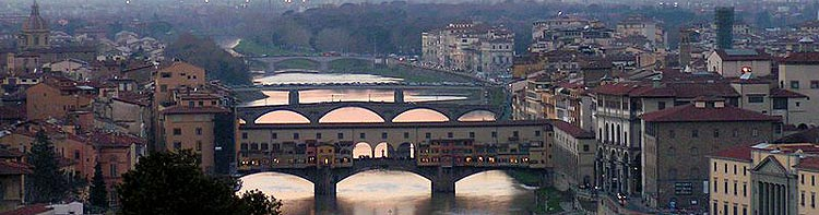 View across the bridges on the Arno river