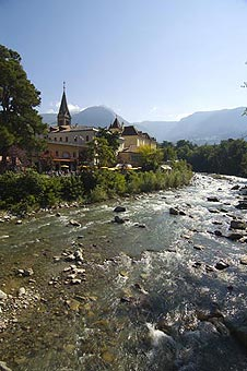 View of Merano and Passirio river,  Trentino Alto Adige (Sud Tirol), Italy