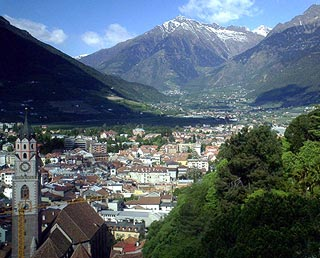 View across Merano to the mountains