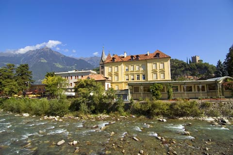 Merano, Italy with mountains behind
