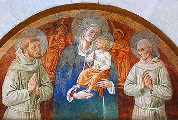 Fresco by Benozzo Gozzoli in Montefalco, Italy at the Convento di S. Fortunato