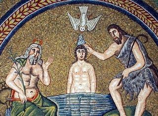 Christ being baptised, mosaic in the Arian Baptistry