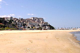 Beach and town of rodi Garganico