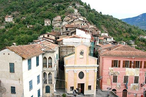 Neoclassical church in small piazza in Apricale