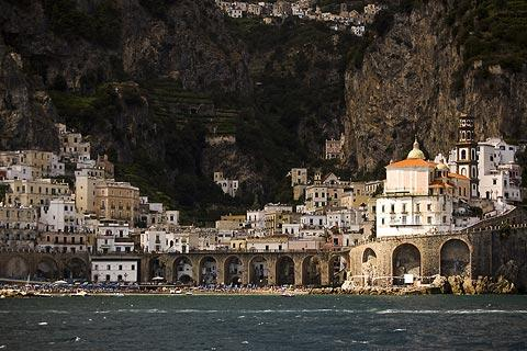 Atrani seafront seen from the sea