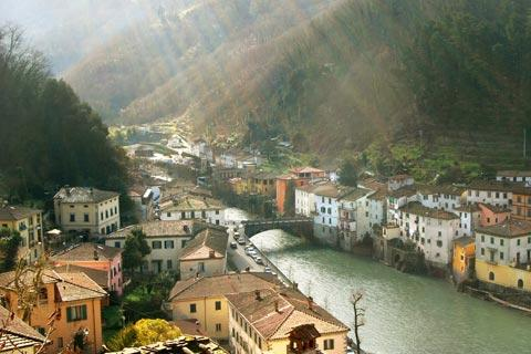 Town of Bagni di Lucca along the river banks