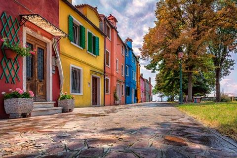 Colourful Burano houses and trees