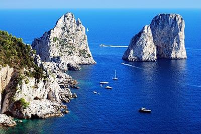 The Faraglioni rocks off the coast of Capri