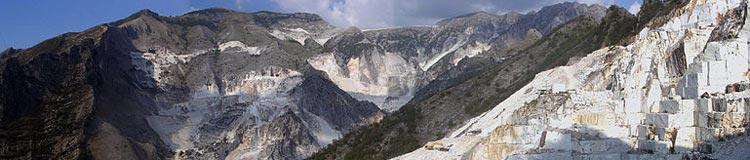 Scenery of marble quarries in hills near Carrara