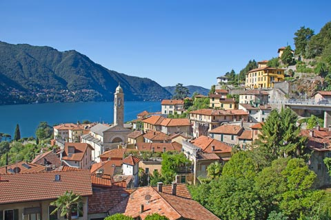 View across town and church with Lake Como behind