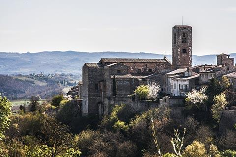 view across the valley and church
