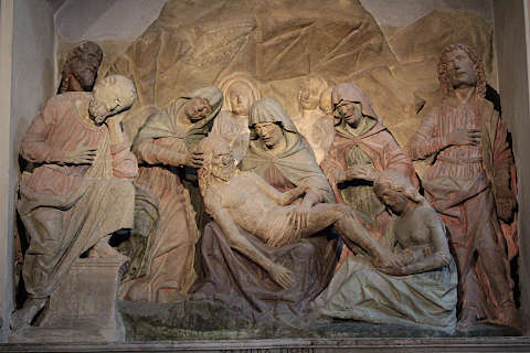 Medieval sculpture: burial of Jesus