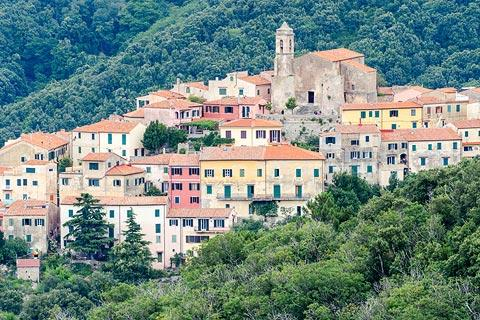 Traditional Italian hill village at Poggio on Elba
