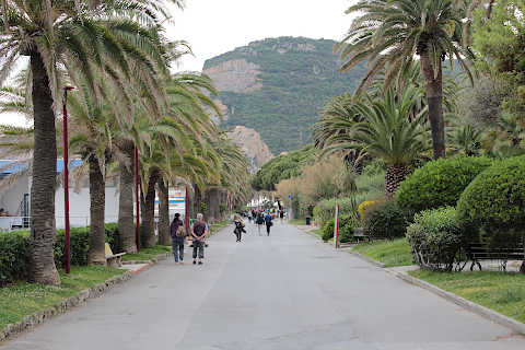 Promenade next to the beach in Finale Ligure