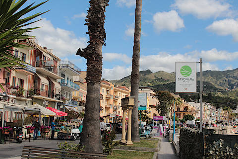 Shops and cafes in the centre of Giardini Naxos