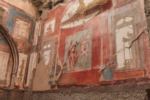 Beautiful frescoes in Herculaneum villa
