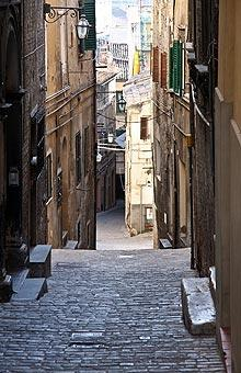 Long paved street through centre of Jesi