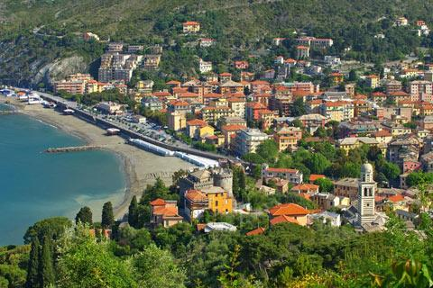 Beach and town centre of Levanto