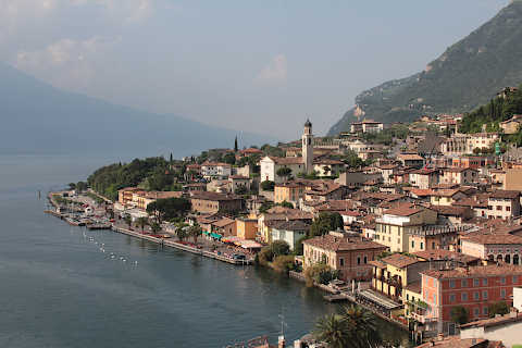 View of Limone from road around Lake Garda