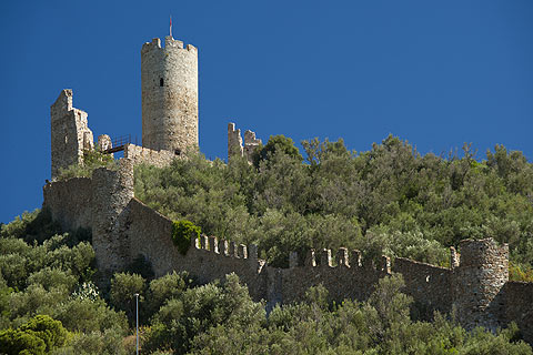 defensive walls and castle above Noli