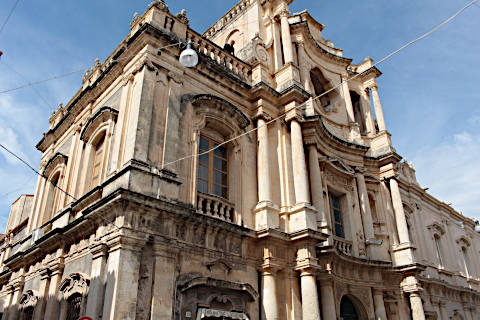 Concave facade of the Church of San Carlo in Noto
