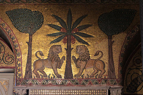 Lion mosaic in Palermo Palace of Kings