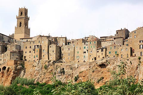 View of Pitigliano town on top of cliff ridge, Tuscany
