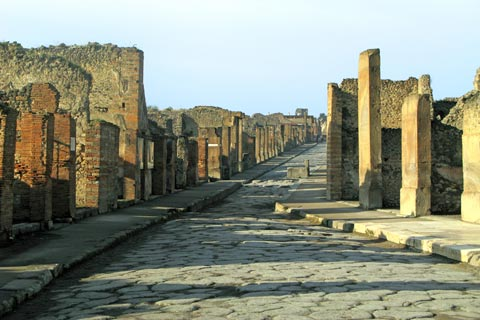 Typical street through Pompeii