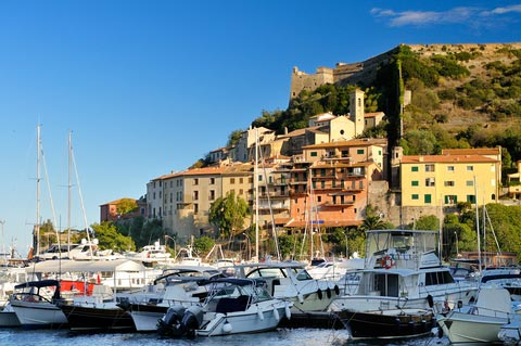 harbour, boats and fortress in Porto Ercole
