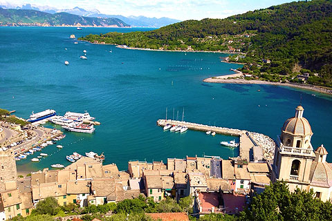 view across Portovenere to harbour