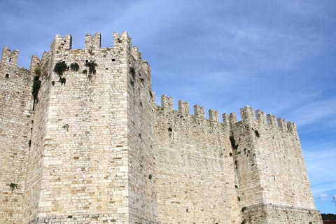 Imposing stone walls of castle in Prato