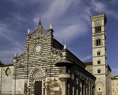 Cathedral facade in Prato, Italy