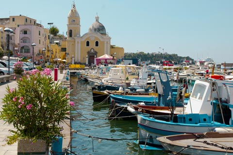 Boats in the harbour at Procida