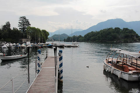 View across Lake Como from harbour in Sala Comacina