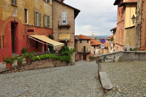 small piazza in centre of Saluzzo old town