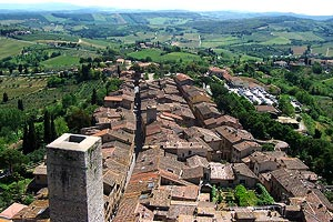 The view across San Gimignano from top of Torre Grossa