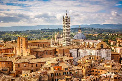 aerial view across Siena old town