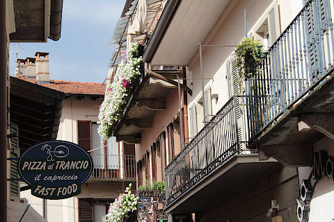 Stresa town centre houses and restaurant