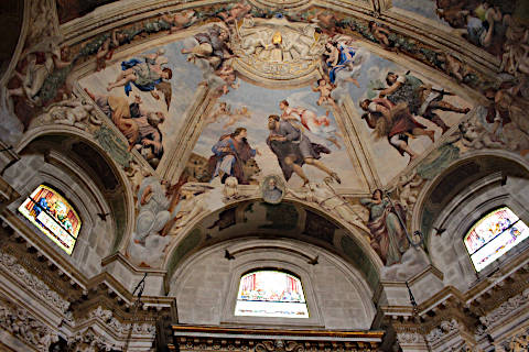 baroque paintings in the dome of Syracuse cathedral